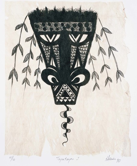Fatu Feu'u Taputapu 1 1990. Lithograph. Collection of Christchurch Art Gallery Te Puna o Waiwhetū, purchased 1991