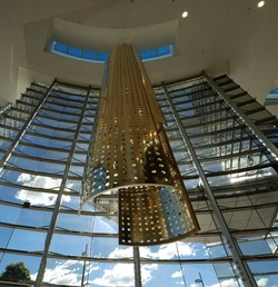 Kinetic sculptures installed in foyer of Christchurch Art Gallery