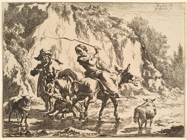 Man, Woman With Stick With Animals In Rocky Landscape