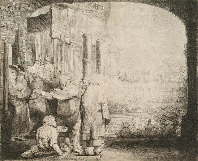 Peter and John healing a beggar at the Temple Gate