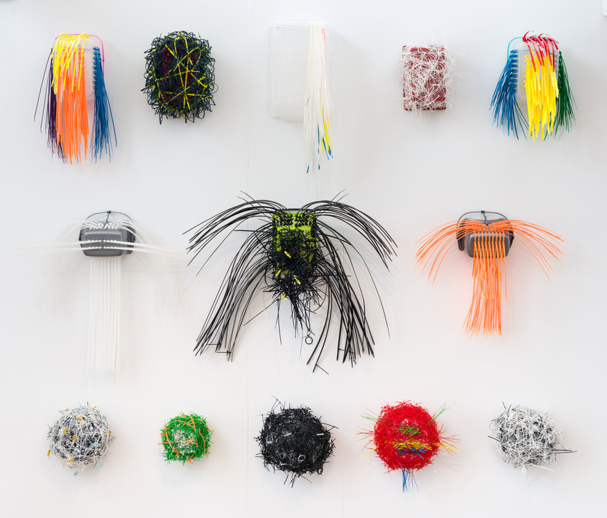 John Hurrell Things (a Baker's Dozen): Five whatsits, two thingummies, two doodahs and four thingies (detail) 2013. Plastic peg baskets, nylon cable ties, label ties, plant ties, washers, rawl plugs, shower curtain rings. Courtesy of the artist