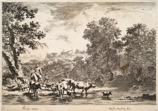 Men Droving Cattle And Goats