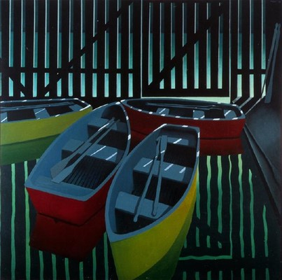Michael Smither Boats at Pukekura Park 1967-1973. Oil on hardboard.Purchased, 1975. Reproduced courtesy of M D Smither