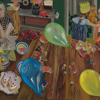 Jacqueline Fahey The Birthday Party 1974. Oil on board. Victoria University of Wellington Art Collection, purchased 1989