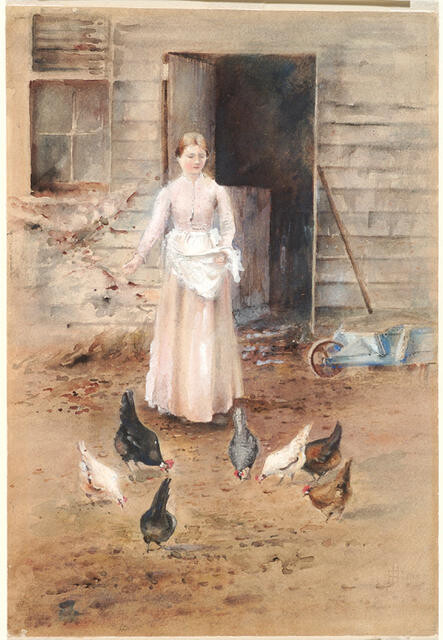 Girl Feeding Poultry