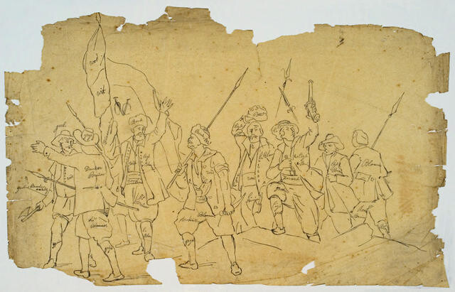 Men Waving Spears And A Flag