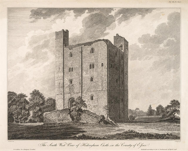 The South West view of Hedingham Castle in the County of Essex