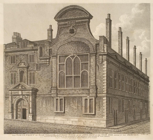 The North Front Of Sion College, London Wall As It Appeared In The Year 1800, Before It Was Rebuilt