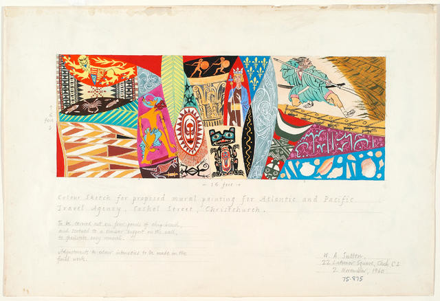 Untitled (Atlantic and Pacific mural sketch)