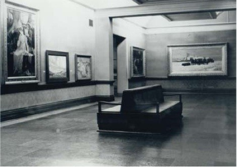 Interior view of the Robert McDougall Art Gallery. Two stalwarts of Christchurch Art Gallery's collection, Henrietta Rae's Doubts (c.1886) and Petrus van der Velden's The Dutch Funeral (1872), can be clearly identified