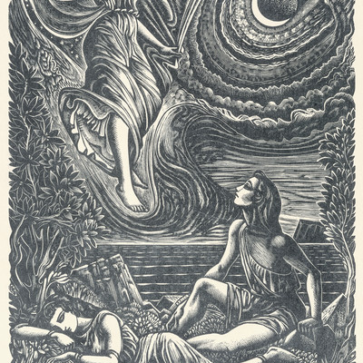 John Buckland Wright Diana and Endymion 1944. Wood engraving. Collection of Christchurch Art Gallery Te Puna o Waiwhetu 2002