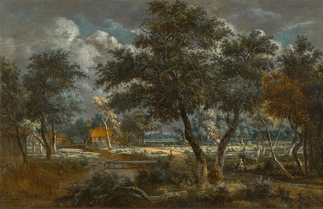 A Wooded Landscape with Peasants on a Path and an Angler at a Stream