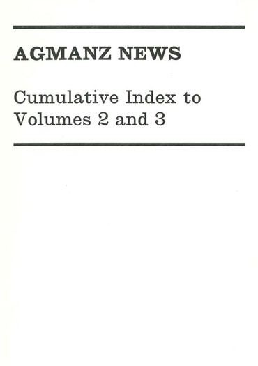 AGMANZ News Cumulative Index to Volumes 2 and 3