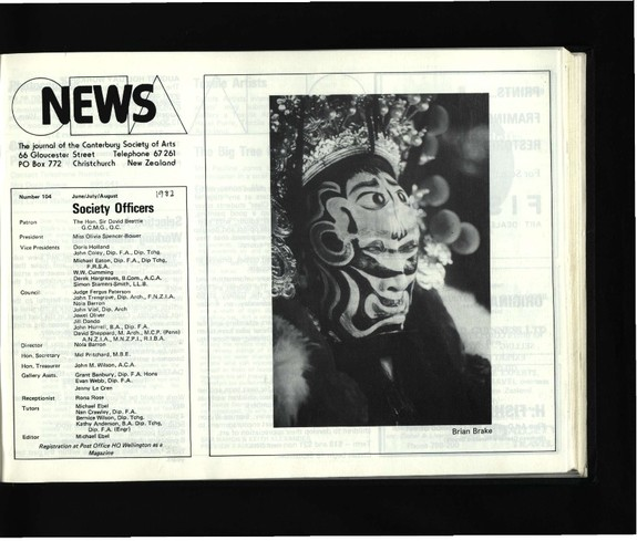 Canterbury Society of Arts News, number 104, June/July/August [1982]