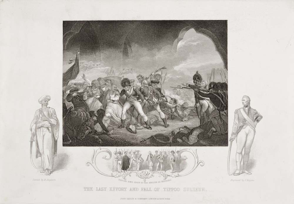 John Rogers, after Henry Singleton The last effort and fall of Tippoo Sultaun undated. Engraving. Collection of Christchurch Art Gallery library archives