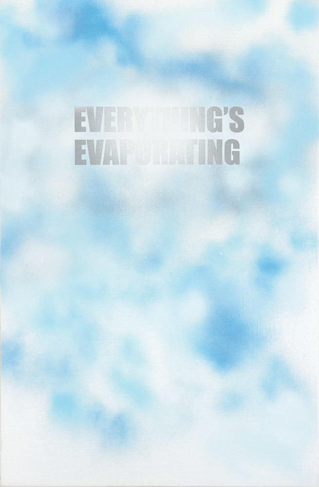 Elliot Collins Everything's Evaporating 2008. Enamel and acrylic on canvas. Reproduced courtesy of the artist and Tim Melville Gallery