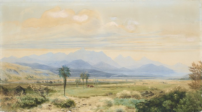 John Gully The Inlands Kaikouras from the Awatere Valley, Marlborough 1871. Watercolour. Collection of Alexander Turnbull Library, Wellington, New Zealand. C-096-013
