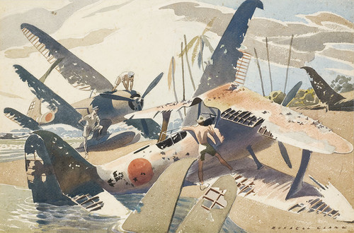 Russell Clark Japanese Planes, Rekata Bay, Santa Isabel, 1945 Watercolour Collection Christchurch Art Gallery Te Puna o Waiwhetū; N Barrett Bequest Collection. Purchased 2010