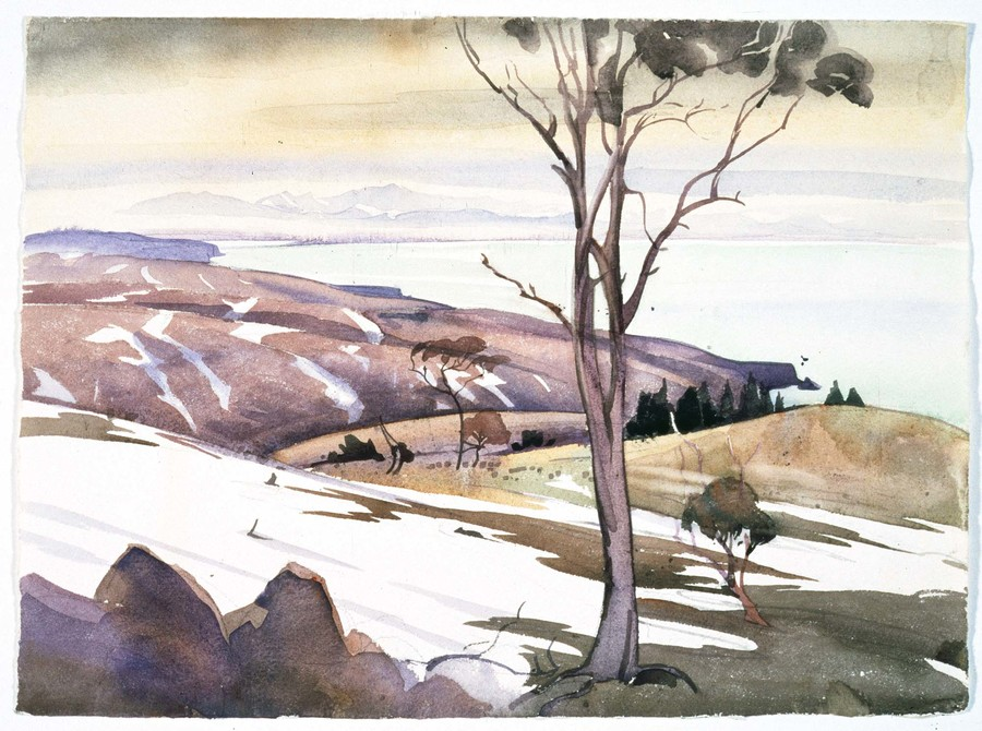 Olivia Spencer Bower Menzies Bay c.1938. Watercolour and pencil. Collection of Christchurch Art Gallery Te Puna o Waiwhetū, purchased 1999