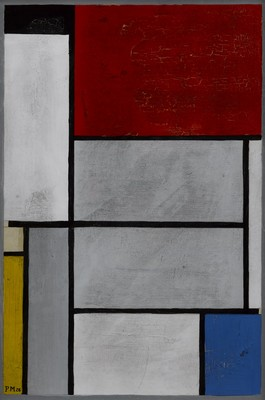 Piet Mondrian Composition with black, red, grey, yellow and blue c.1920. Gouache with traces of pencil on paper laid down on card. Promised gift of Julian and Josie Robertson