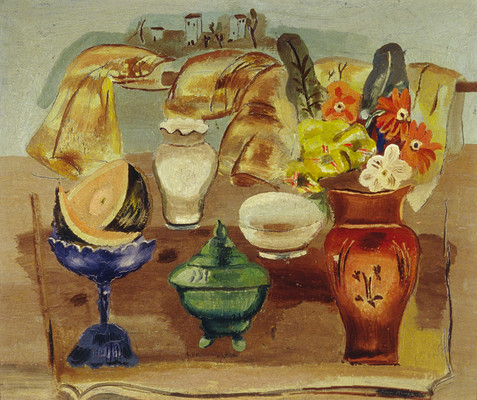 Frances Hodgkins Spanish Still Life And Landscape. Oil on wood panel. Collection of Christchurch art Gallery te Puna o Waiwhetū, purchased 1979