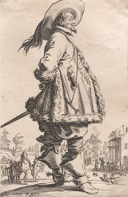 Le Gentilhomme au Manteau Bordé de Fourrures Tenant ses Mains Derrière le Dos (The Gentleman in a Fur-trimmed Coat, with Hands Behind his Back), from La Noblesse de Lorraine (The Nobility of Lorraine)