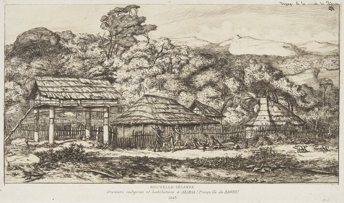 Charles Meryon NOUVELLE- ZÉLANDE Greniers indigènes et habitations à AKAROA (Presqu'île de Banks) 1845 1860. Etching. Collection of Christchurch Art Gallery Te Puna o Waiwhetu 1972