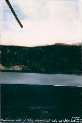 Colin McCahon Tomorrow will be the same but not as this is 1958–9. Solpah and sand on board. Presented by A Group of Subscribers, December, 1962. Collection of Christchurch Art Gallery Te Puna o Waiwhetu, reproduced courtesy of the Colin McCahon Research and Publication Trust
