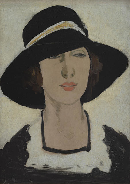 Study (Woman in a wide black hat) by Raymond McIntyre