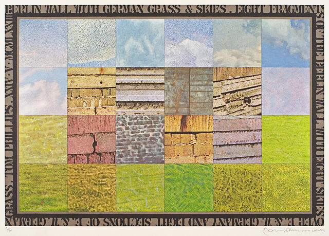 Eight Fragments Of The Berlin Wall With Eight Skies Over E&w Germany And Eight Sections Of E&w German Grass