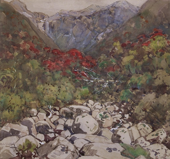 Margaret Stoddart An Otira Stream c. 1927. Watercolour. Collection of Christchurch Art Gallery Te Puna o Waiwhetu 1997