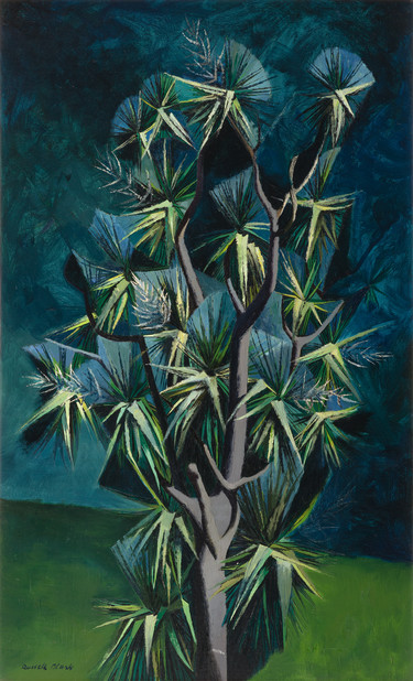 Russell Clark Cabbage Tree in Flower c.1954. Oil on canvas. Collection of Christchurch Art Gallery Te Puna o Waiwhetū, purchased 1964. Reproduced courtesy of Rosalie Archer
