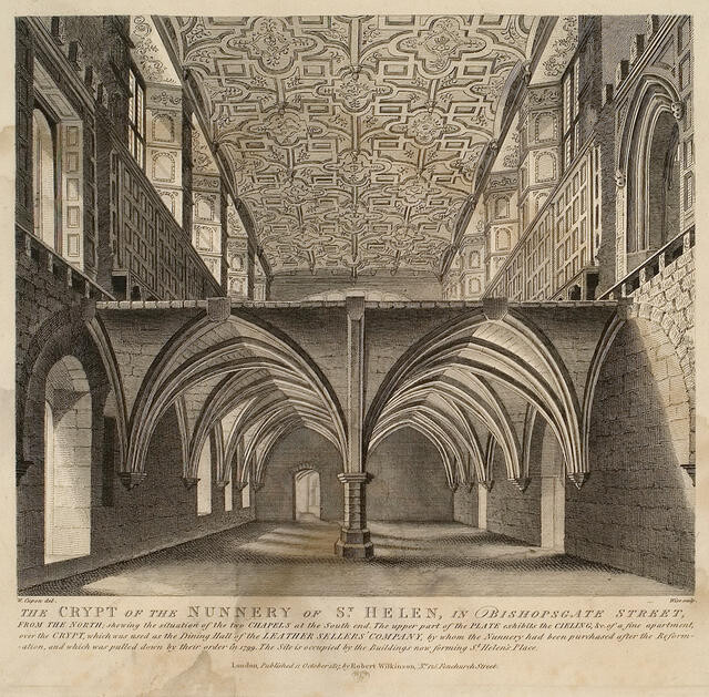 The Crypt Of The Nunnery Of St Helen In Bishopsgate Street, From The North, Showing The Situation Of The Two Chapels At The South End.