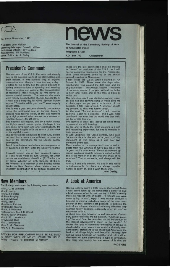 Canterbury Society of Arts News, number 40, November 1971