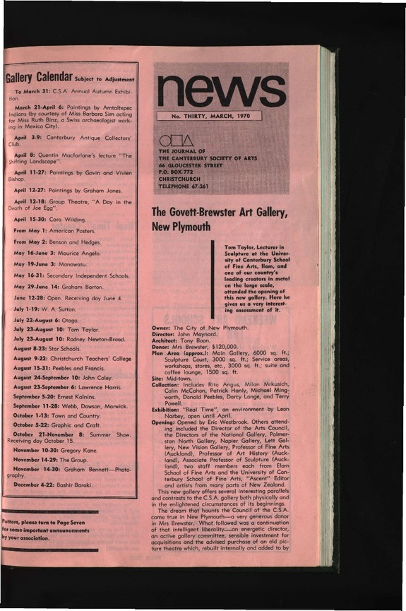 Canterbury Society of Arts News, number 30, March 1970