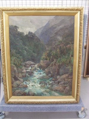 Grace Butler 1886-1962 In the Otira Gorge (1925), oil on canvas. Collection Christchurch Art Gallery Te Puna o Waiwhetū, bequethed by Grace Adams, 2012.