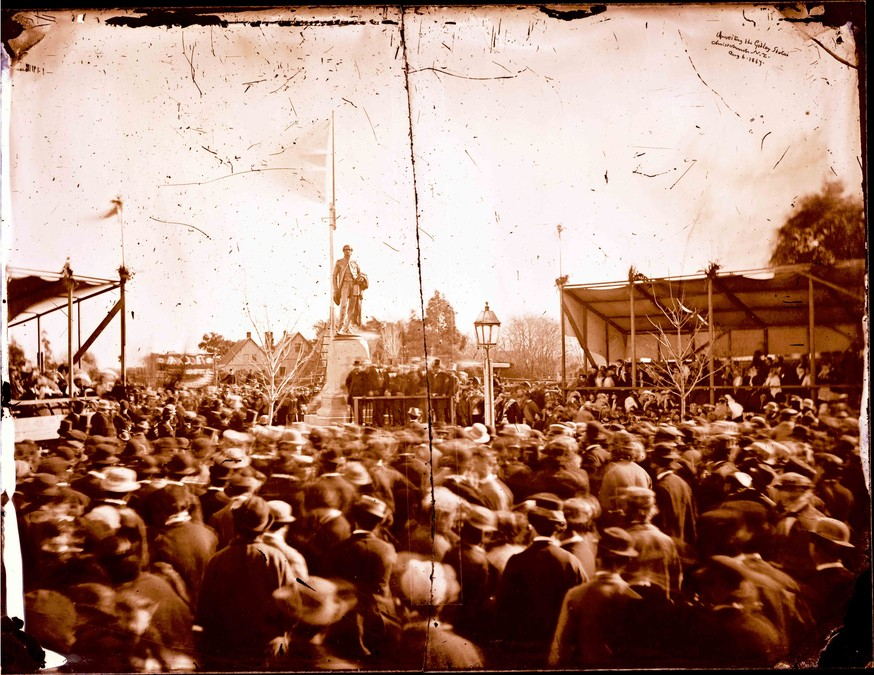 Alfred Charles Barker Unveiling the Godley statue, Christchurch N.Z. Aug. 6, 1867 1867. Glass negative. Canterbury Museum 1944.78.52