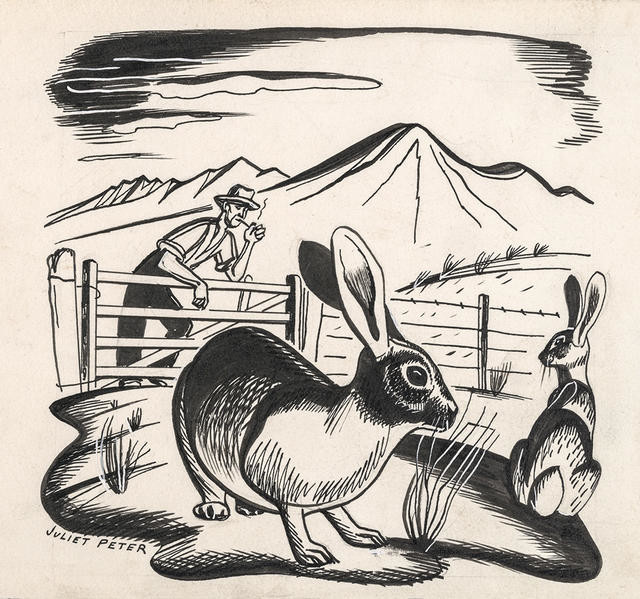 Untitled [Farmer with rabbits]
