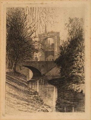 James Fitzgerald Bridge of Remembrance 1937. Etching. Collection of Christchurch Art Gallery, gifted to the Gallery by Ailsa Gregory 2005