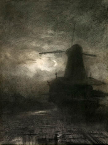 Windmill by Moonlight