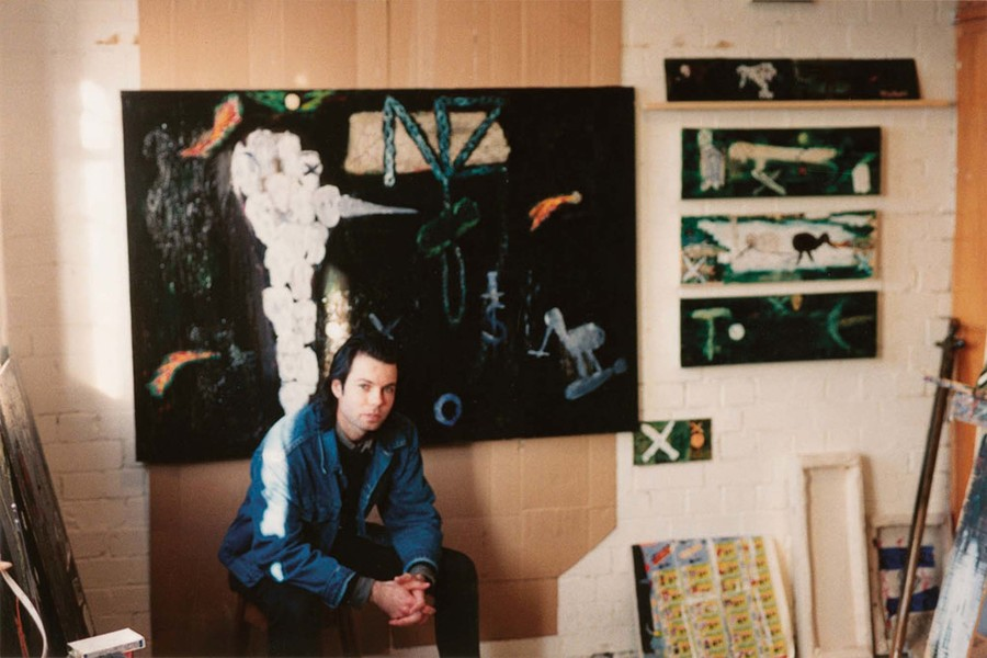 Tony de Lautour's Colombo Street studio c.1993. Photo: Shaun Murphy. Image courtesy Tony de Lautour