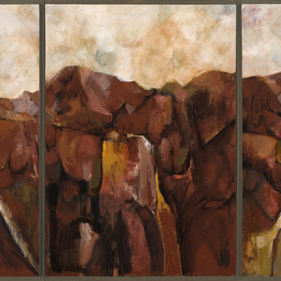 Quentin Macfarlane Hill Triptych. Duco on hardboard. Collection of Christchurch Art Gallery Te Puna o Waiwhetu, presented by the Friends of the Robert McDougall Art Gallery Inc. 1986
