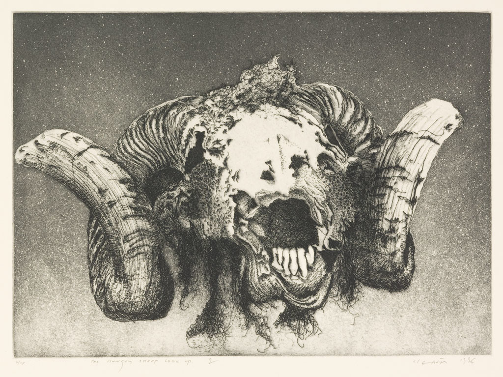 Barry Cleavin, The hungry sheep look up– the final solution (2) 1996. Etching. Collection of Christchurch Art Gallery Te Puna o Waiwhetū 1999. Reproduced courtesy of Barry Cleavin