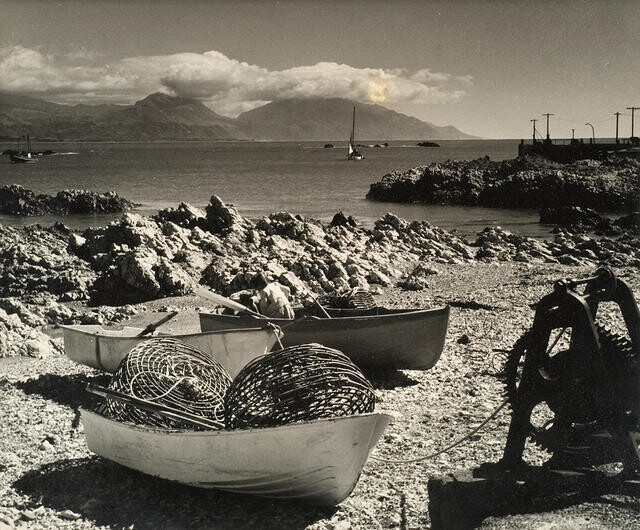 Craypots and boats near old wharf Kaikoura