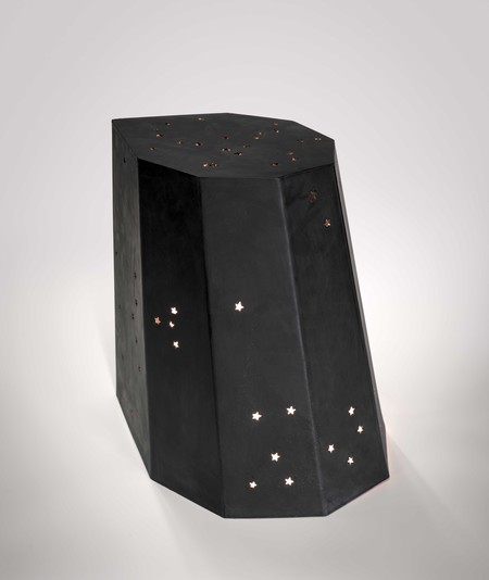 Ammon Ngakuru Night Light 2020. Carved Martino Gamper Arnold Circus stool, light. Collection of the artist