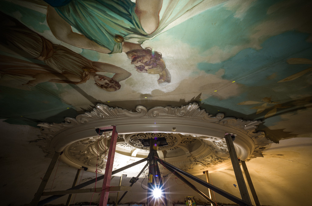A Midsummer Night's Dream (detail). Isaac Theatre Royal dome painting during restoration. Photo: John Collie
