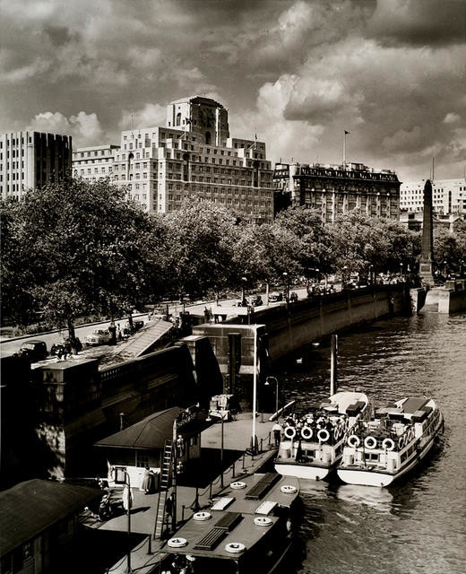 Victoria Embankment and Shell Mex building from Charing Cross Bridge