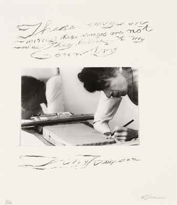 Photograph of Tony Fomison working on a lithographic stone at Muka Studio which appears on the title page for his 1984 folio produced by Muka. Collection of Christchurch Art Gallery Te Puna o Waiwhetū, purchased 1985