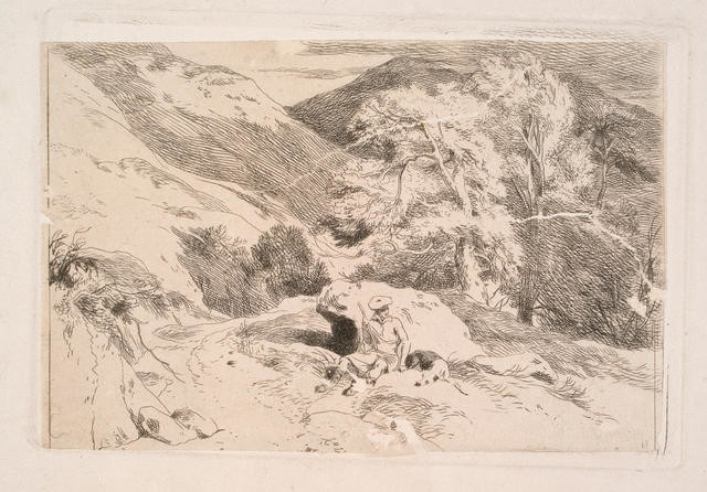 Seated figure in landscape