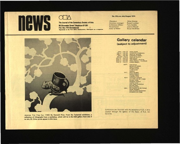 Canterbury Society of Arts News, number 56, July/August 1974